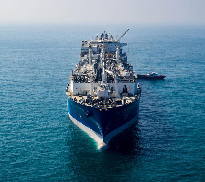 Clean energy LNG ship in ocean