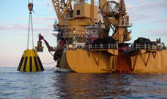 Gulf Gateway Buoy being lowered during construction of first offshore LNG terminal