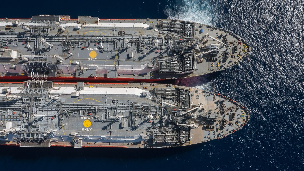 Hadera Deepwater LNG FSRUs performing STS of LNG offshore Israel
