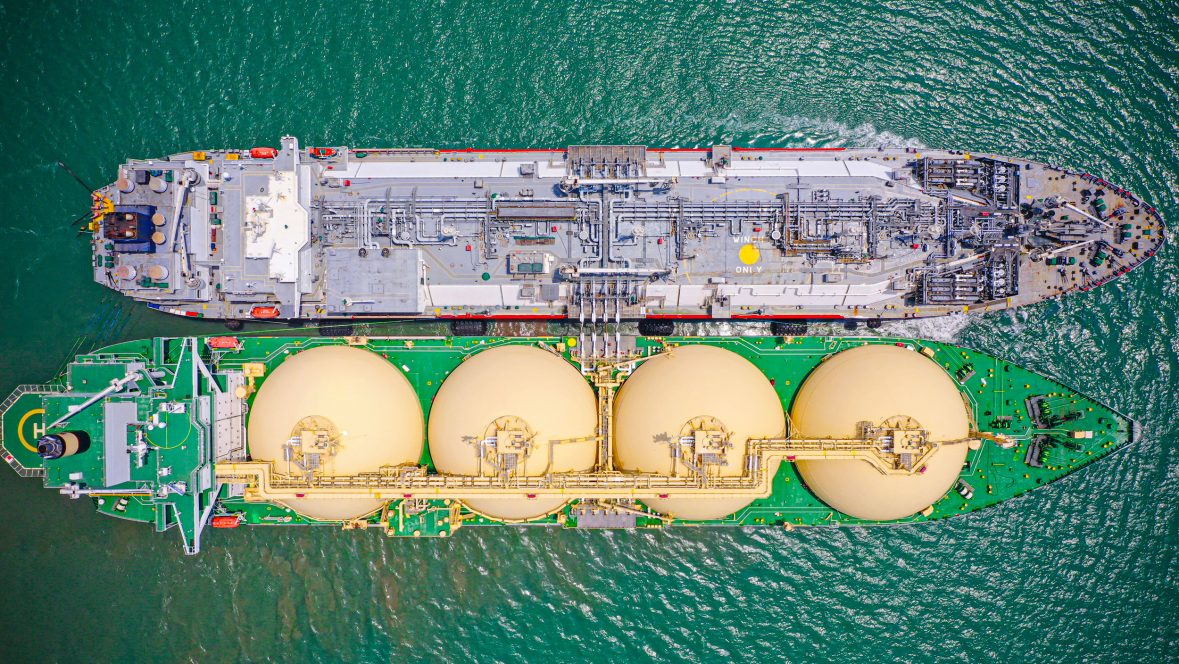 Top view of clean energy LNG terminal operations