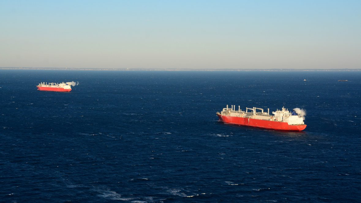 Two LNG ships offshore New England