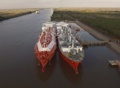 Clean energy LNG ship to ship transfer at LNG terminal