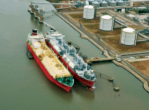 Ships at a clean energy LNG import terminal