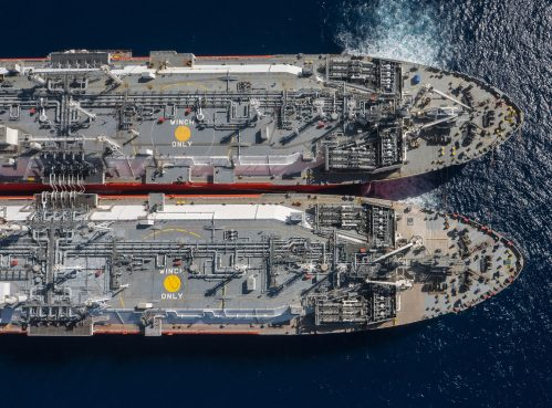Clean energy LNG ship to ship transfer performed by a buoy at LNG terminal