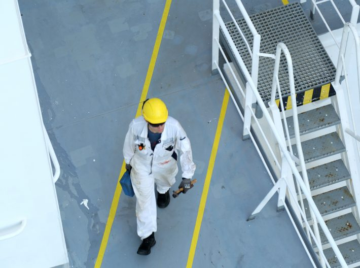LNG terminal worker practicing safety