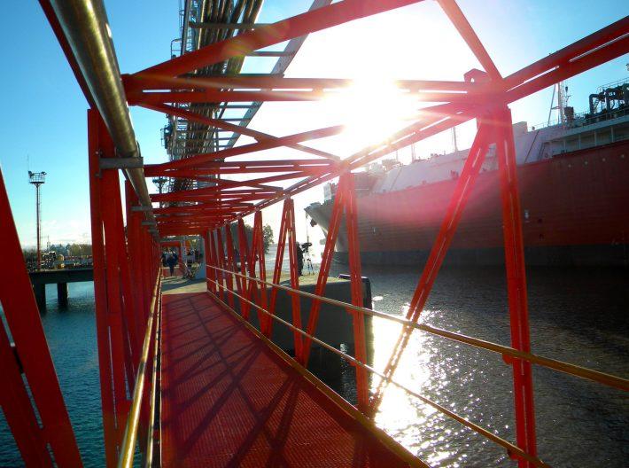 LNG terminal ship and crew