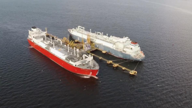 Guanabara Bay LNG FSRU ship at LNG clean energy terminal