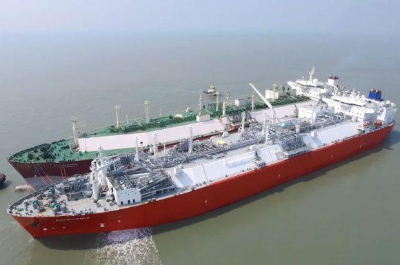 Ship at Moheshkhali floating LNG terminal