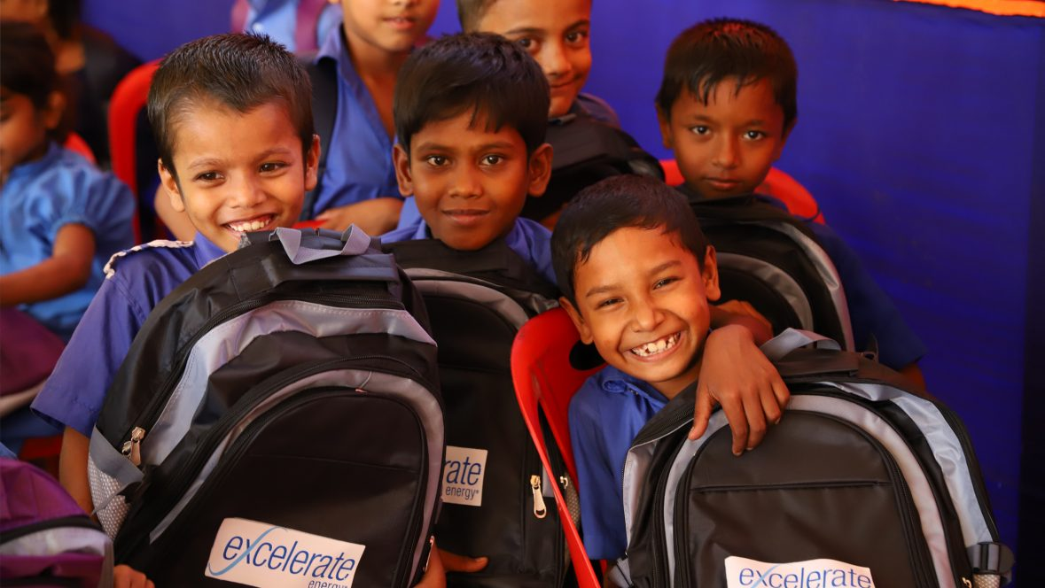Children in Bangladesh with Excelerate Backpacks